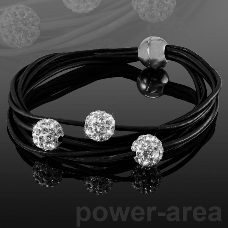 Shamballa-Echt-Leder-Armband-Strass-Armkette-Magnetverschluss-versch-Farben